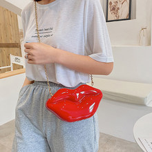 2021 New Funny Personality Big Lip Messenger Bag Woman Party Handbag Chain Shoulder Bags Ladies Lipstick Pack Cosmetic Package