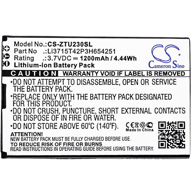 Cameron Sino 1200mAh <font><b>Battery</b></font> for <font><b>ZTE</b></font> AC33, MF30 A6 WiFi Router, <font><b>MF60</b></font>, MF61, MF62, MF65, For B-Mobile BT001W, WiFi MF30 image