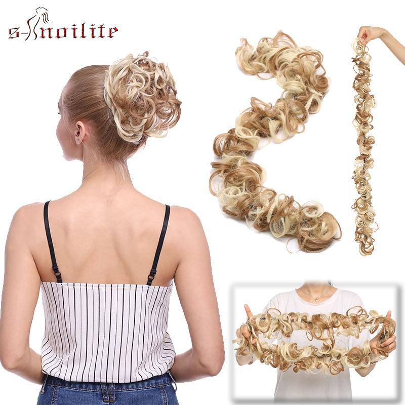 S-noilite 80cm Women Chignon Rubber Band Hairband Synthetic Chignon Hairpiece Updo Chignon Donut Roller Scrunchie Hair Bun