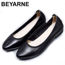 BEYARNE Ballet flats 2020 genuine leather flat shoes woman pointed toe casual work shoes women flats loafers size 35 42E114