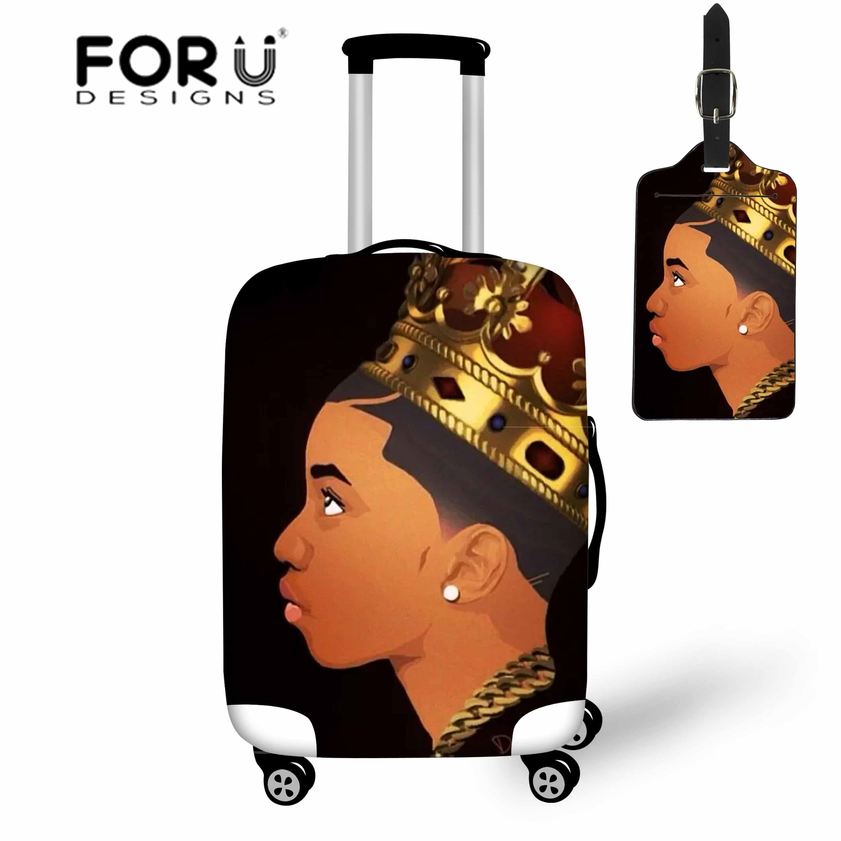 FORUDESIGNS Travel Accessories For Men African Boys Printing Luggage Covers Stretch Trolley Protective Dustproof Suitcase Cover