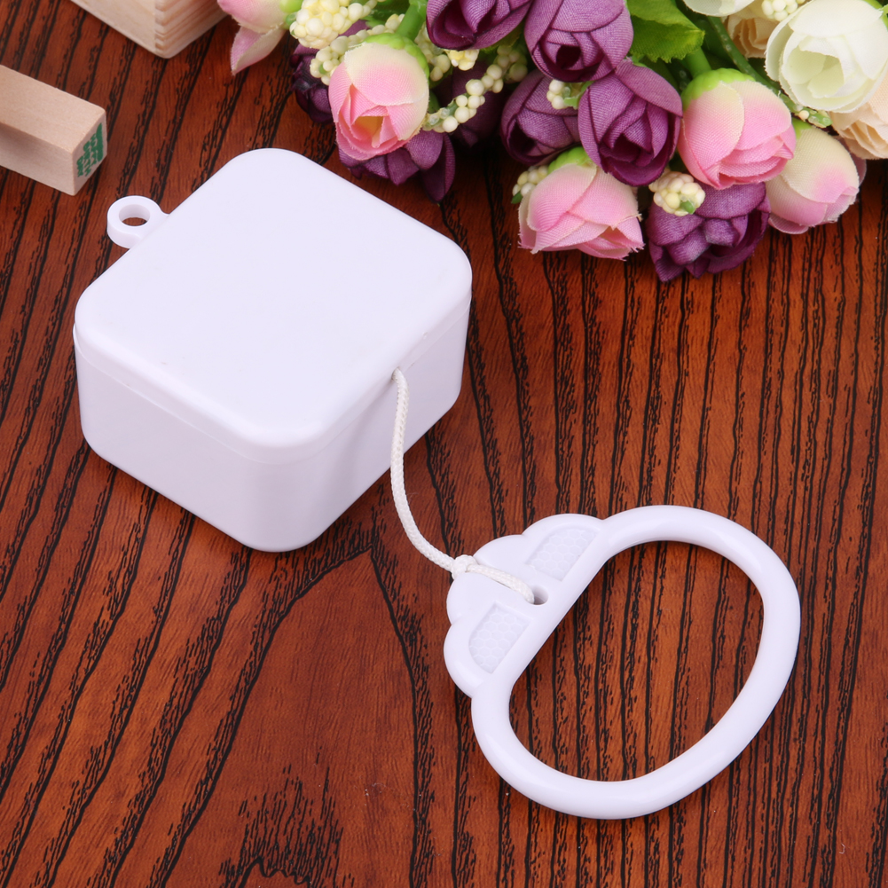Pull Ring Music Box White ABS Plastic Pull String Clockwork Cord Music Box Infant Kids Bed Bell Rattle Toy For Birthday Gift