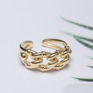 Image 3 - Prata esterlina 18k ouro amarelo tamanho livre, nó torcido aberto, marca de moda, vintage, presentes do amor dos namorados 925 anéis de anéis