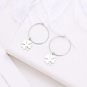 DOTIFI для женщин Горячая Распродажа серьги Lucky Clover из нержавеющей стали золотые круглые серьги-кольцо ювелирные изделия для помолвки