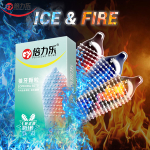 Beilile 10Pcs Fire & Ice Spike Condoms Large Dots Orgasm G-Spot Massage Penis Sleeve for Sex With Studs Funny Condoms For Men(China)