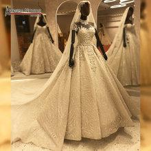 Cap sleeves full beading wedding dress dubai style handsew heavy beading luxury amanda novias dress