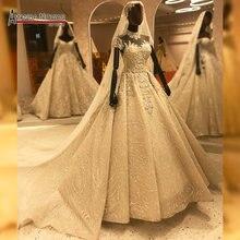 Kappen hülsen der voll perlen hochzeit kleid dubai stil handsew schweren friesen luxus amanda novias kleid