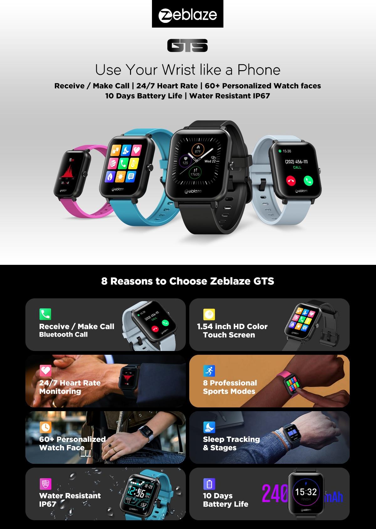 New Zeblaze GTS Bluetooth Calling smart band Receive/Make Calls Modes 60+  Watch Faces Smart Bracelet smartwatch 2020|Smart Wristbands| - AliExpress