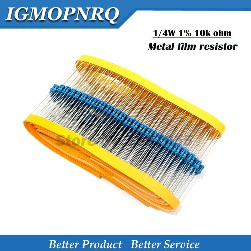 100pcs 1/4 10K 1/4W 10k Metal Film Resistor 1/4W 1% High Quality 1/4 Metal Film New Original