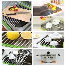 Kitchen Sink Foldable Stainless Steel Drain Rack Color Silicone Fruit Vegetable Kitchenware Cistern Shelf Retractable Storage