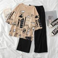 Conjunto de dos piezas formado por Top y pantalón, pijama para mujer, ropa de descanso, camisón para Dormir elegante, envío directo