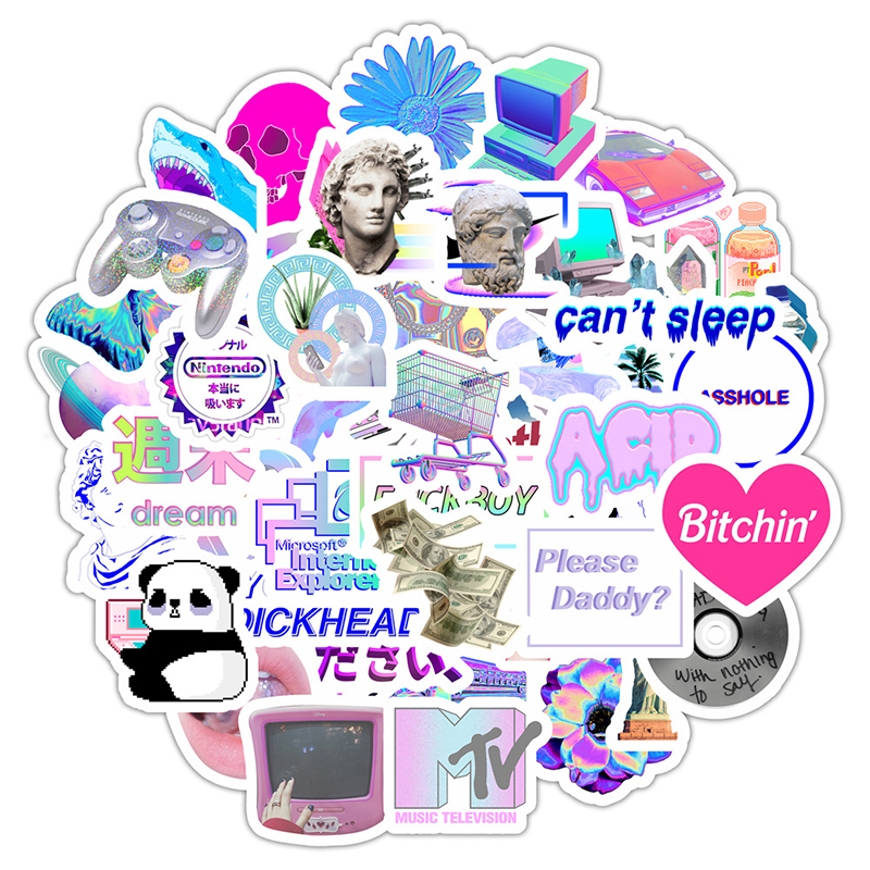 50pcs Vaporwave Art Style Sticker For Laptop Computer Skateboard Luggage Refrigerator Notebook Helmet Toy Cartoon Stickers F5