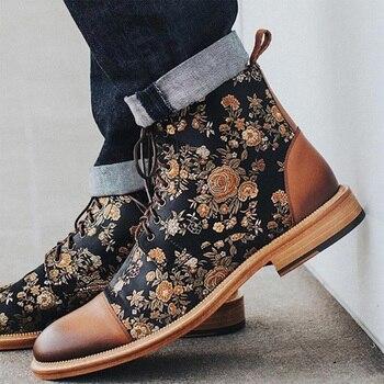 Botas De piel sintética con cordones y punta redonda para Hombre, botines...