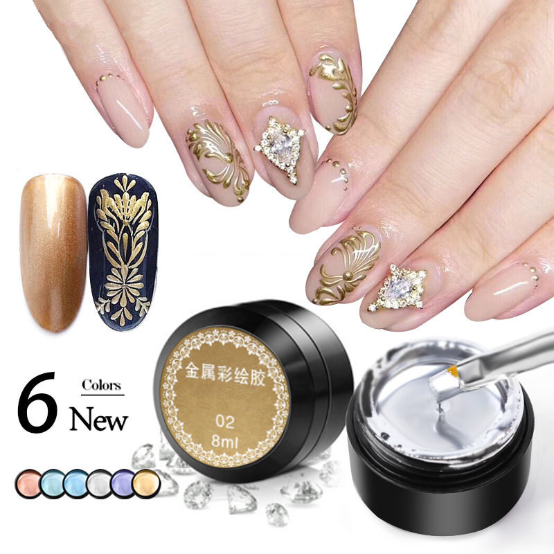 Metal Effect Nail Gel Rose Gold Silver UV LED Draw Painting Stamping Nail Art Color Gel Polish Manicure Long Lasting Gel Vernish
