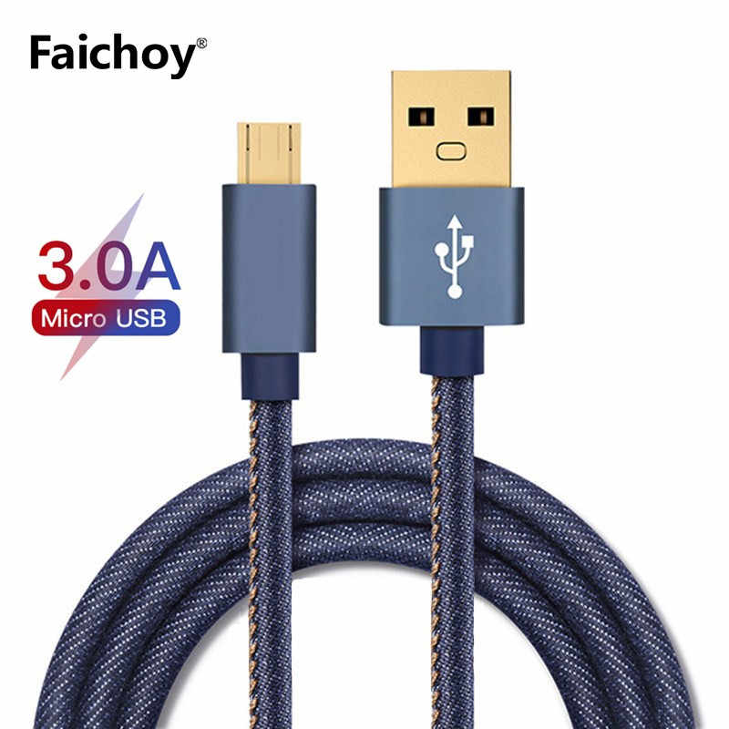 Denim Micro USB Cable 3A Fast Charging Microusb Charger Cord For Samsung S7 Xiaomi Redmi Note 5 Pro 4 Tablet Android Phone Micro
