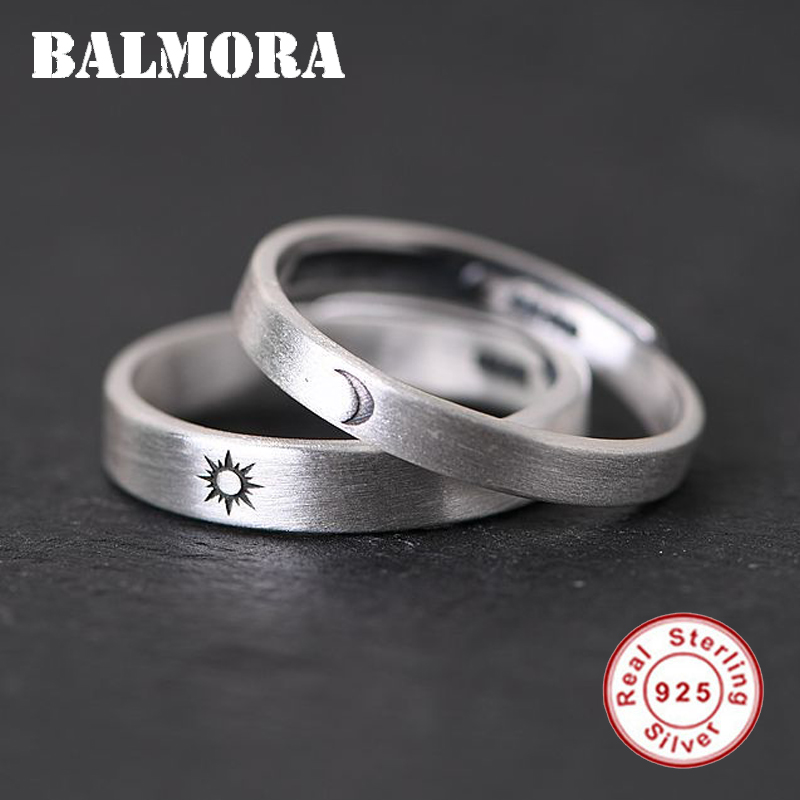 BALMORA 1 Piece 925 Sterling Silver Sun & Moon Couple Open Rings For Women Men Lover Retro Fashion Thai Silver Jewelry Anillos