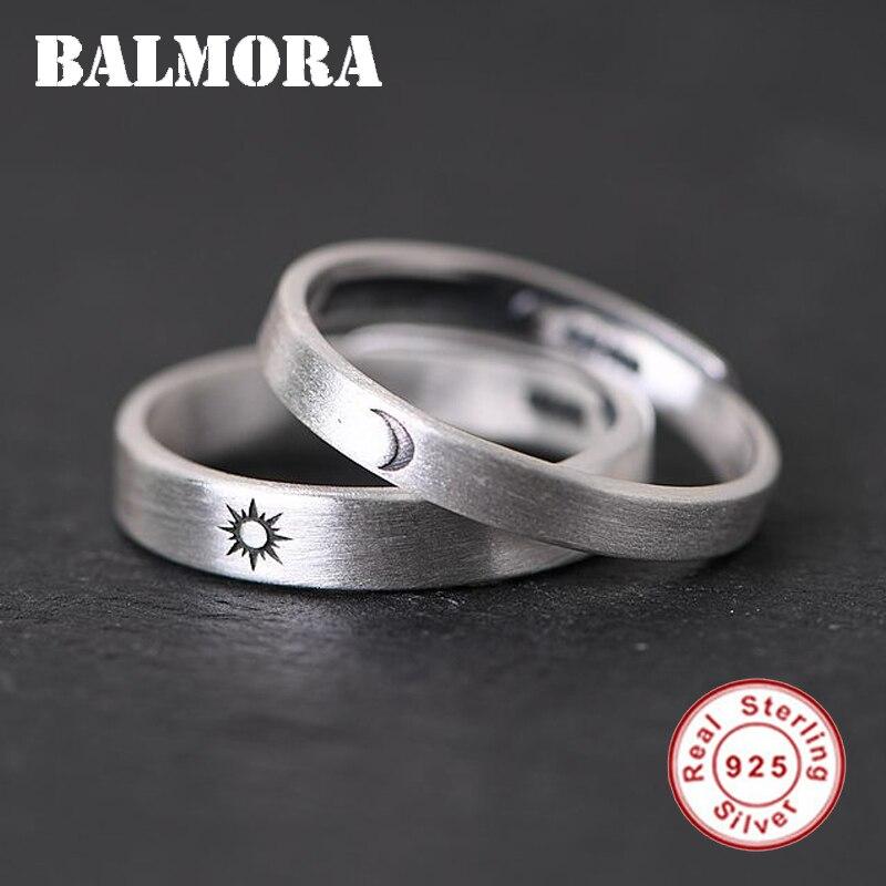 BALMORA 1 Piece 925 Sterling Silver Sun & Moon Couple Open Rings For Women Men Lover Retro Fashion Thai Silver Jewelry Anillos