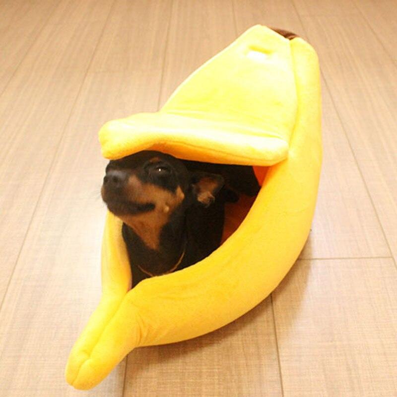 Banana Cat Bed House Cute Banana Puppy Cushion Kennel Warm Soft Pet Bet Cat Supplies Mat Beds For Cats Kittens