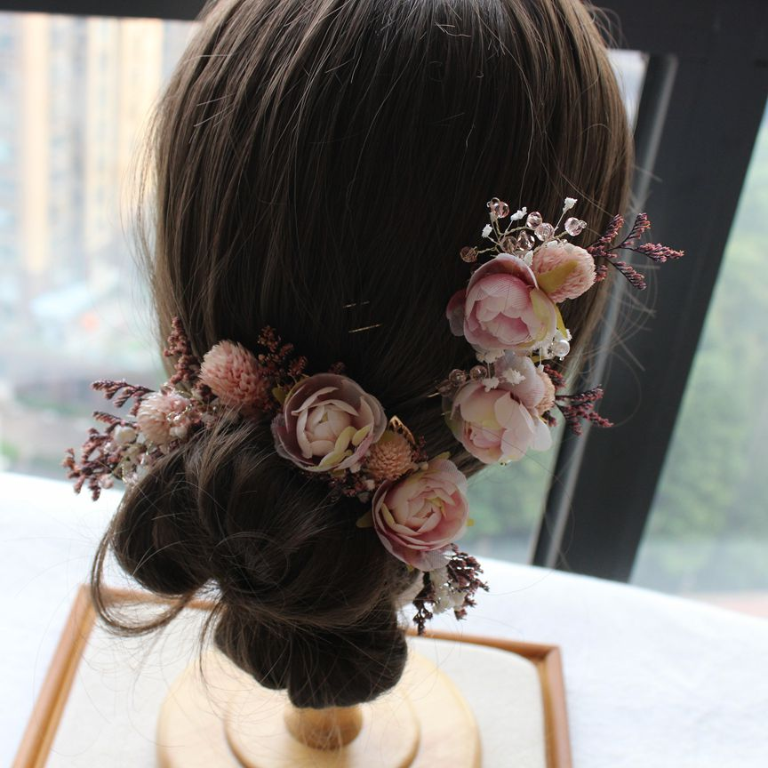 Bride Mori Headdress Dry Lace princess flower Hair Pinch Set Korean bridal Wedding hair Jewelry 5