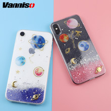 Vanniso Gradient Pink Planet Case For iphone XR XS Max 6S 7 8 6 plus phone glitter Stars soft TPU Cover for x 10