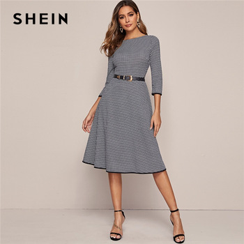 SHEIN Black And White Houndstooth Elegant Dress Without Belt Women 2020 Spring 3/4 Length Sleeve Ladies A Line Midi Dresses