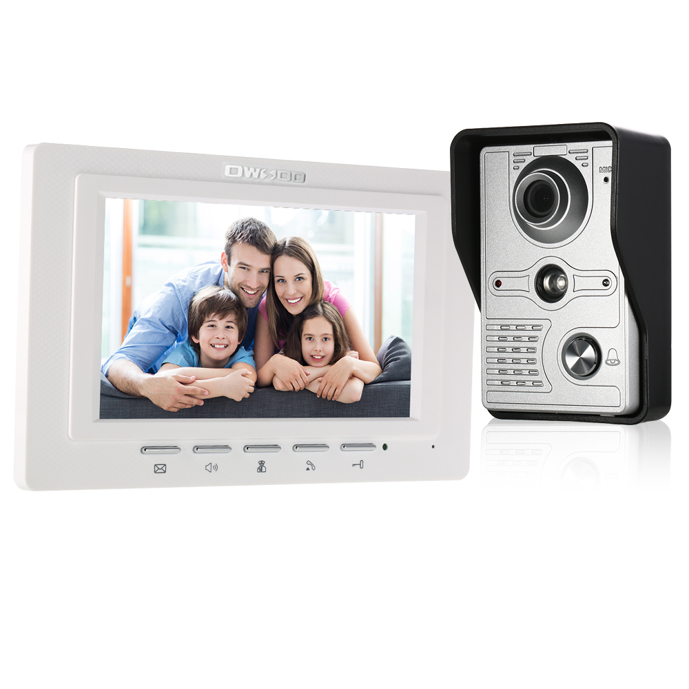 OWSOO 7 Inch Wired Video Doorbell Video Intercom Rainproof Camera Visual Intercom Two-way Audio Remote Unlock Video Door Phone