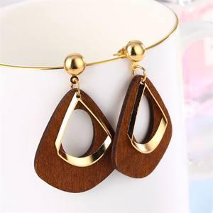 Drop-Earrings Geometric Fashion Jewelry Handmade Statement Vintage Women Wood for Dangle