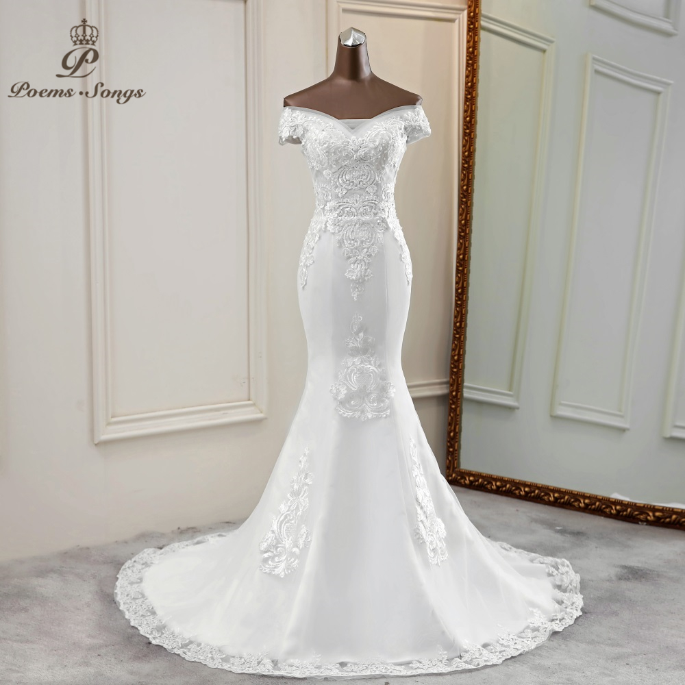 Mermaid Wedding Dress Boat Neck Vestidos De Novia 2020 Elegant Wedding Gowns Lace Bride Dress Marriage Robe De Mariee