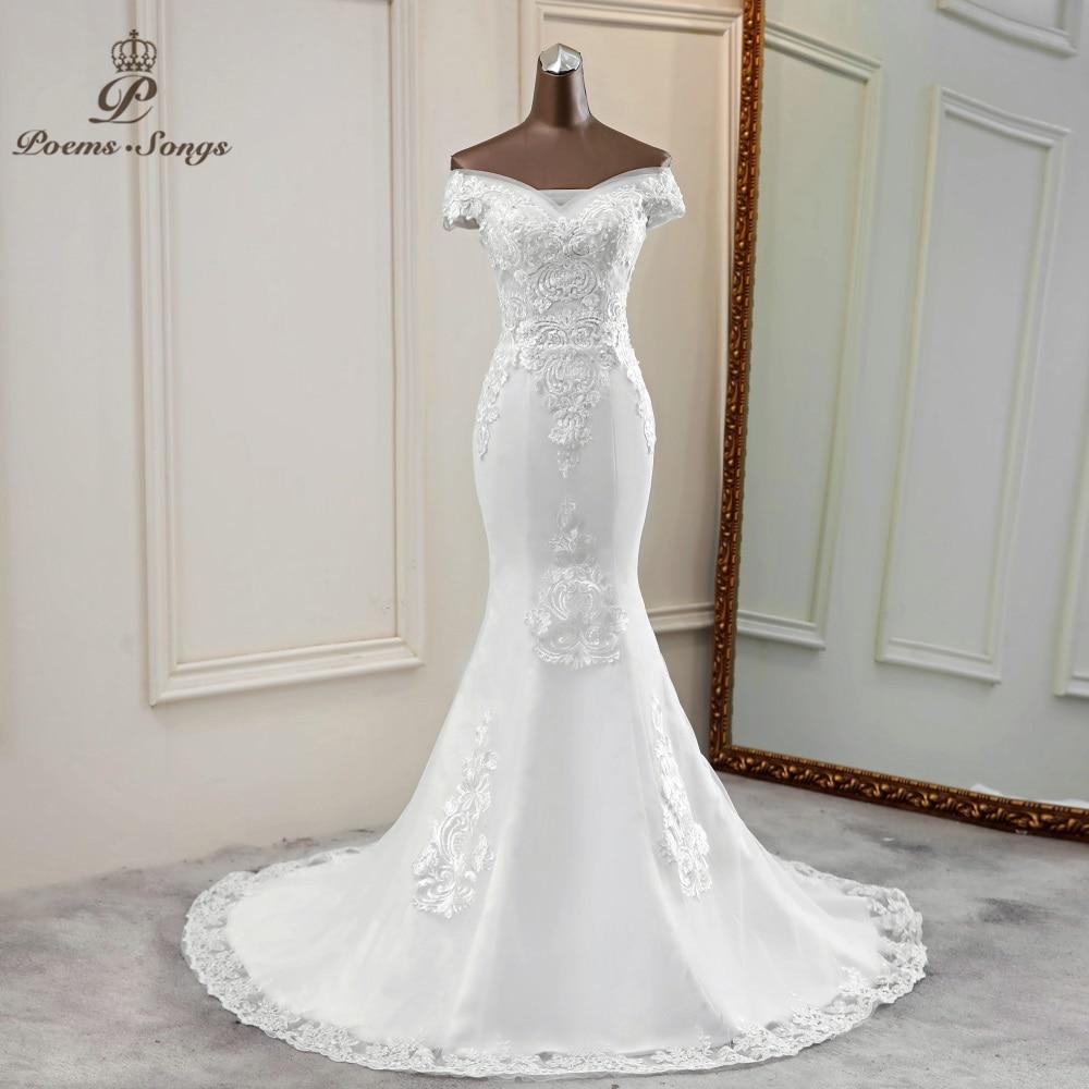 Mermaid Wedding Dress Boat Neck Vestidos De Novia 2020 Elegant Wedding Gowns Lace Bride Dress Marriage Robe De Mariee
