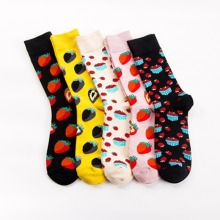 Men's Standard Sock Creative Man Fruit Strawberry Socks Colo