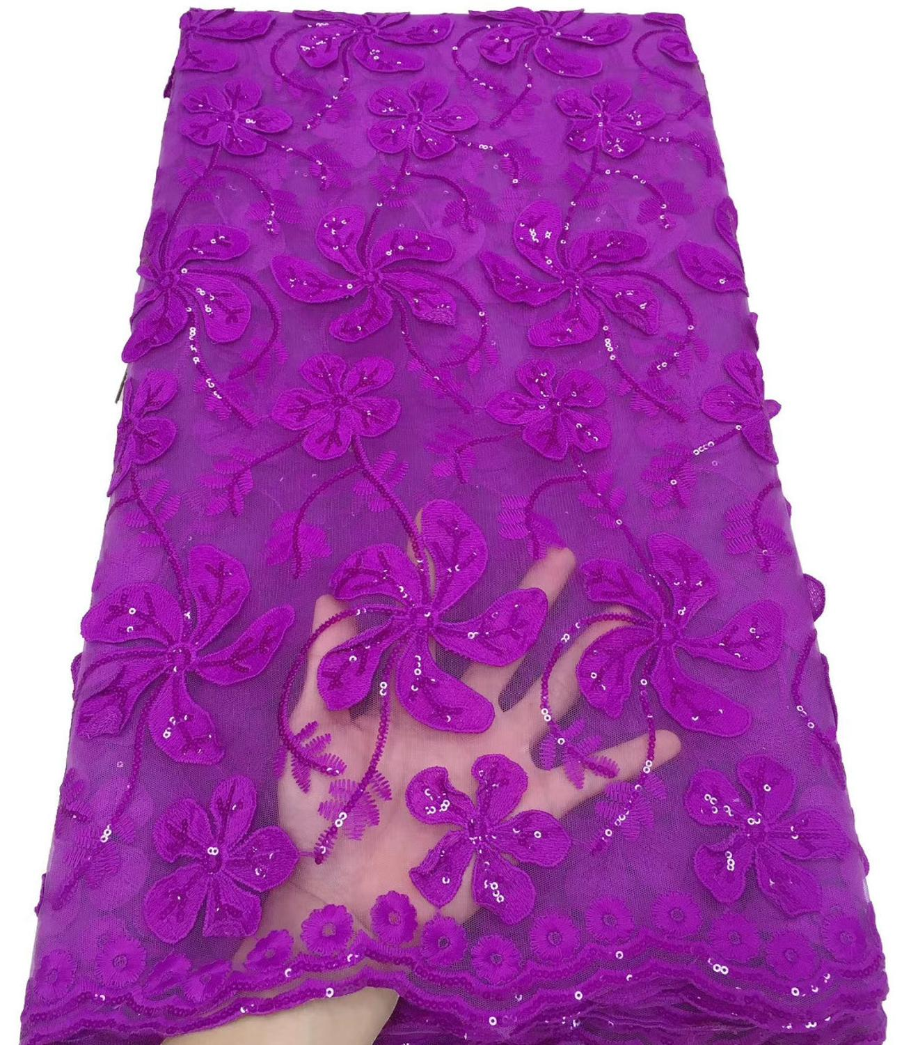 Gorgeous Nigerian Tulle French Net Lace Embroidered African Cord Lace Fabric With Sequins For Bridal ML8480