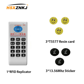 english version supper rfid nfc copier id ic reader writer id h id ic 13.56MHz 125KHz RFID Copier ID IC Frequency card Replicator Reader Writer Copy Programmer +3pcs 125KHZ+3pcs 13.56MHZ cards