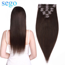 Machine Hair-Clip Human-Hair-Extensions Natural-Hair Straight-8pc-Set Brazilian SEGO