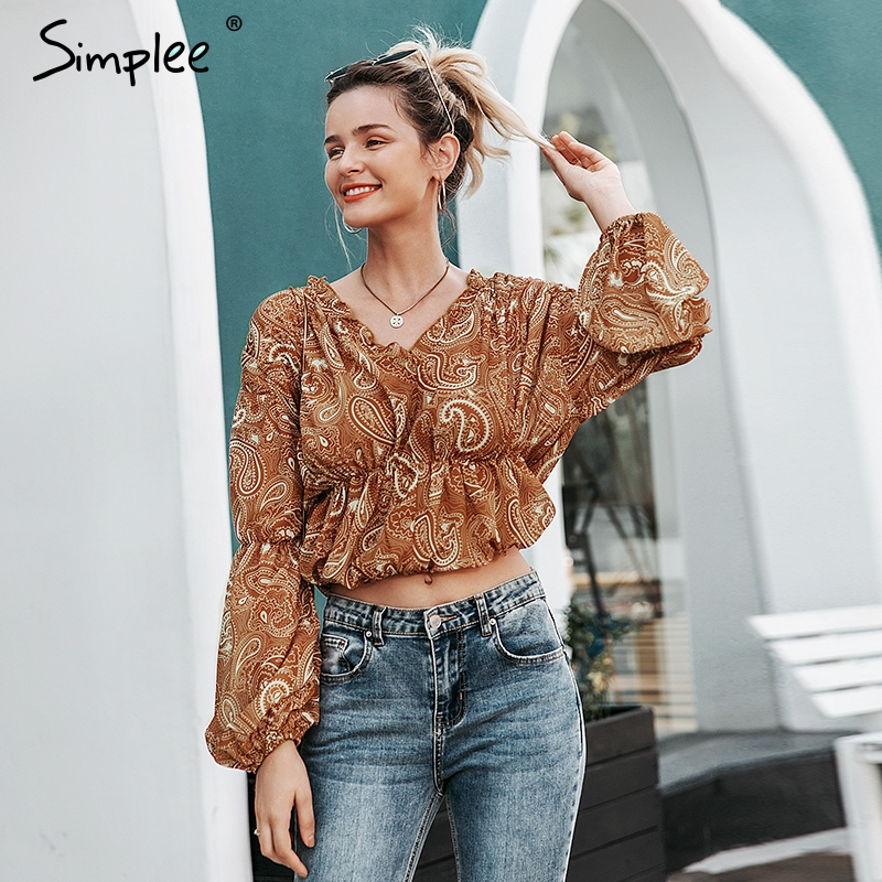 Simplee Ruffled V-neck Women Blouse Shirt Elastic High Waist Chiffon Female Top Shirt Puff Sleeve Print Ladies Top Blouse Shirt