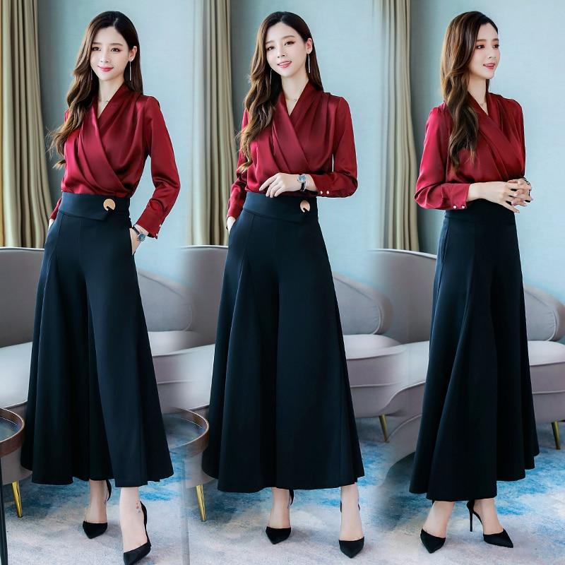 2019 Autumn Office Elegant Two Piece Sets Outfits Women Plus Size V-neck Blouses And Wide Leg Pants Suits Korean Ladies Sets