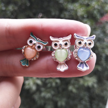Cute Colored Opal Owl Earrings Orange Green Gray Animal Girls Kids Women Gifts Cartoon Ear Studs Korean Jewelry
