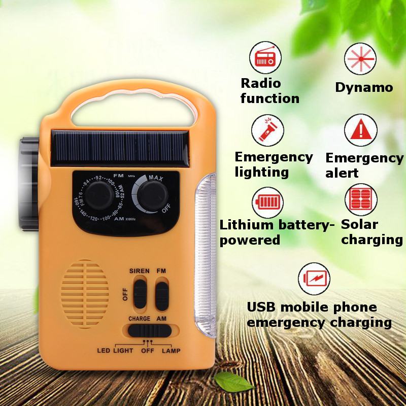 Portable Flashlights Solar Power Lanterns Outdoor Emergency Hand Crank Solar AM/FM Radios Power Bank With LED Lamp