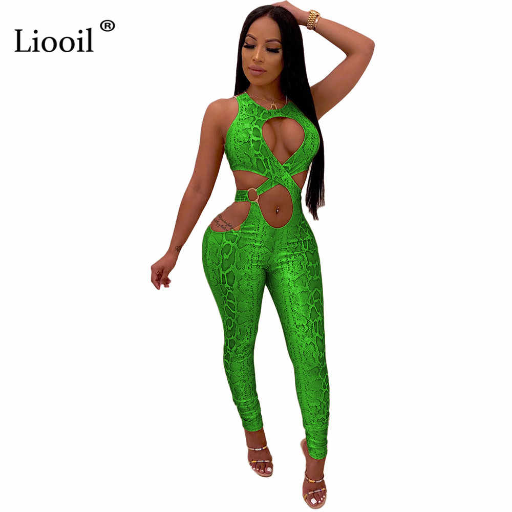 Liooil Snake Print Cut Out Sexy Tight Jumpsuits Clubwear Fall 2020 Sleeveless O Neck Green Party Bodycon Rompers Womens Jumpsuit