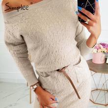 Simplee Streetwear cuello redondo Vestido de punto Casual bolsillos de manga larga suéter vestido de las señoras vaina otoño ajustado vestido de fiesta corto