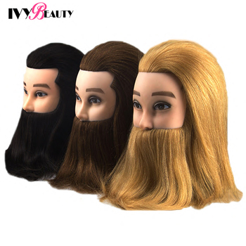 Male Mannequin Hairdressing Training Head With Beard 100% Real Human Hair Practice Mannequin Head Manikin Doll Head With Stand 100% real hair mannequin head professional manikin head with human hair hairdressing mannequins hair styling head