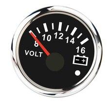 2 дюйма(52 мм) вольтметр измеритель с красной/Желтой подсветкой для автомобиля Мотоцикл Грузовик катер морской, черный циферблат