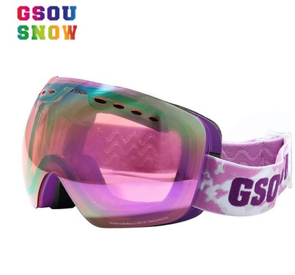 Women Double Layer Anti-fog Purple Ski Goggles Violet Skiing Eyewear Pink Big Spherical Snowboard Glasses Can Stuck Myopic Lens