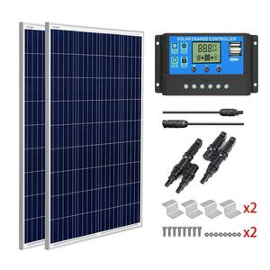 Sungoldpower 2x100 w painéis solares policristalino kit completo para casa caravana com controlador de carga solar células solares grau a