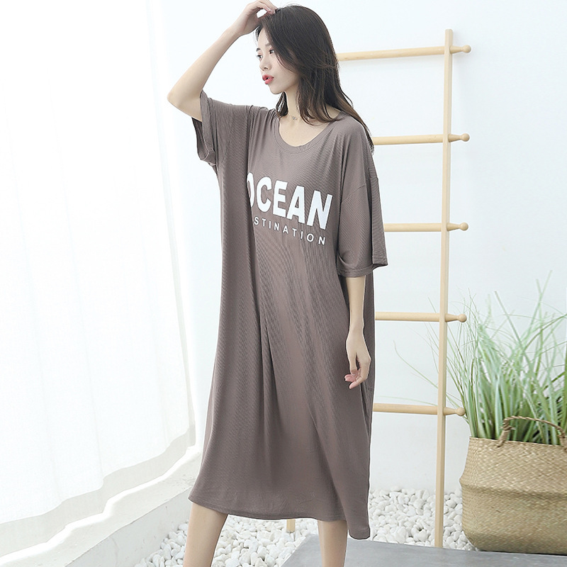Large Size Dress Women's Summer Fat Mm Short Sleeve Nightgown Loose-Fit Slimming Tracksuit Women's Printed Letter Long Pajamas S