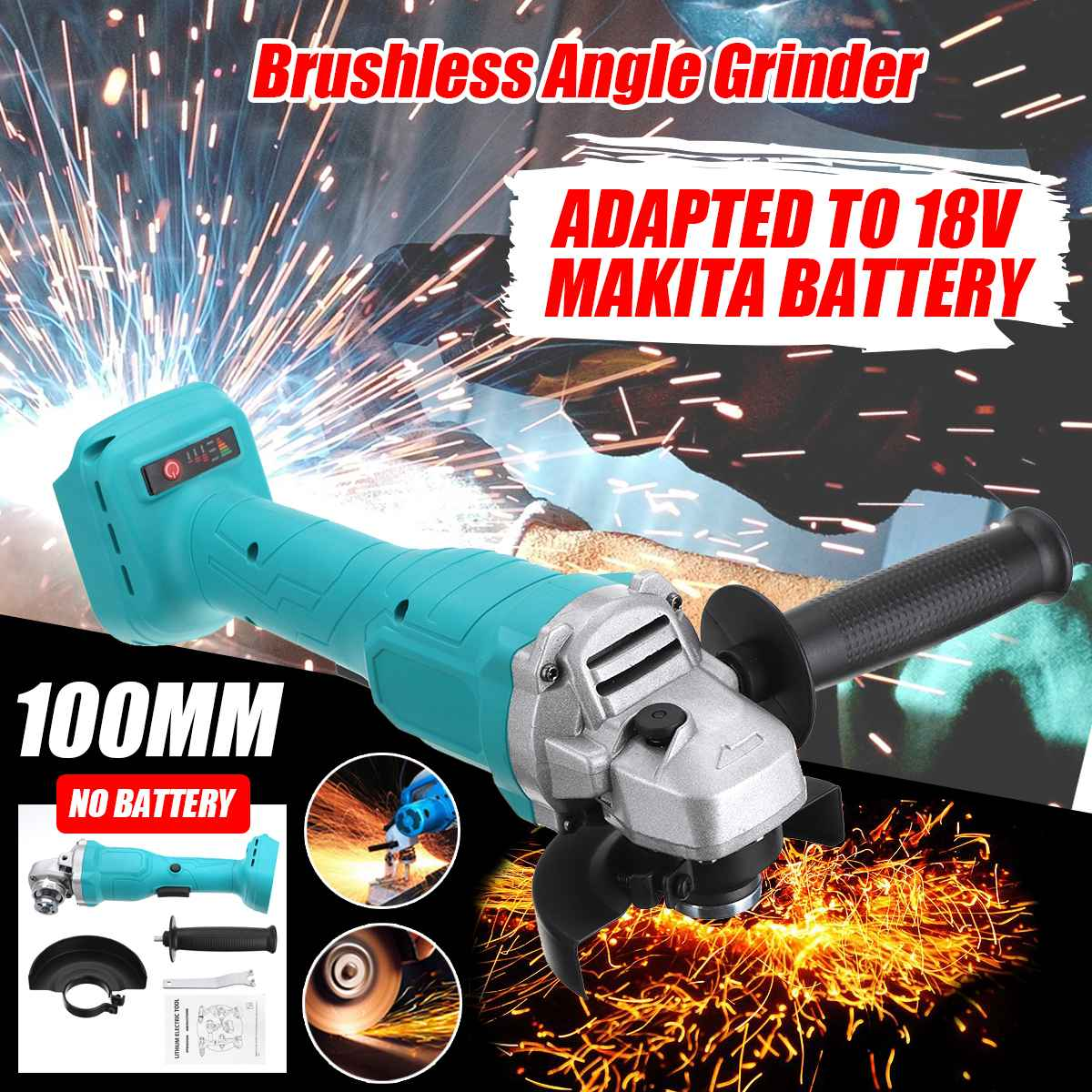100mm Brushless Cordless Impact Angle Grinder Adapted For 18V Makita Battery Power Tools For Woodworking