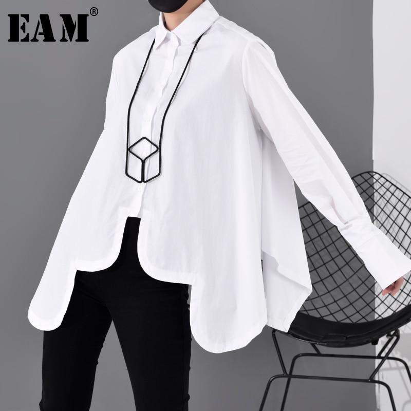 [EAM] Women White Asymmetrical Split Big Size Blouse New Lapel Long Sleeve Loose Fit Shirt Fashion Tide Spring Autumn 2020 JO195