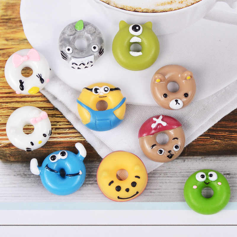 Children's Creative Toy Resin Cartoon Donut Slime Fluffy Charm Filler Clay Mold Kids Decorations Doll House Accessories