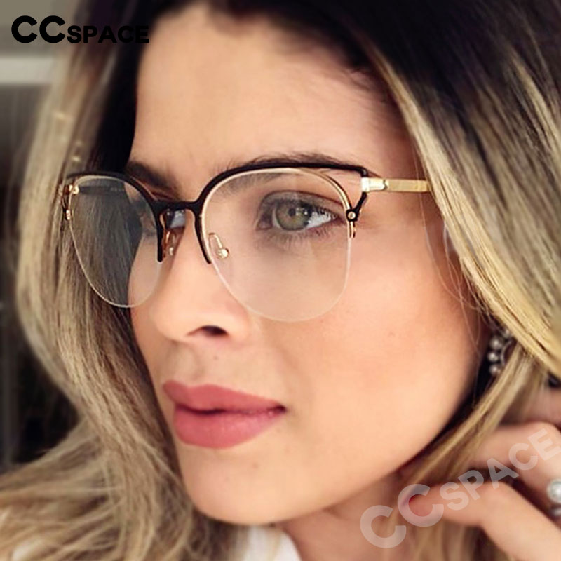 48062 Simple Cat Ear Metal Frame Ultralight Glasses Frames Men Women Optical Fashion Computer Glasses