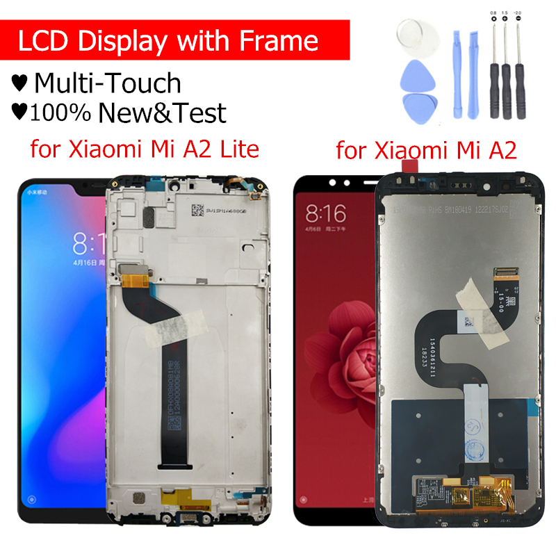 Image 1 - LCD Display for Xiaomi Mi A2 Global/ Mi A2 Lite LCD Display Touch Screen with Frame LCD Display Digitizer Touch Repair Parts-in Mobile Phone LCD Screens from Cellphones & Telecommunications on