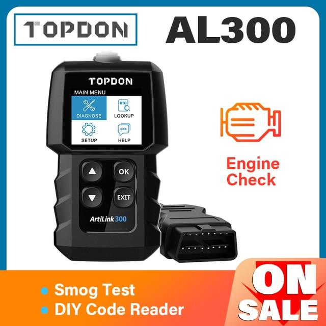 TOPDON AL300 Full OBD2เครื่องสแกนเนอร์ OBDII เครื่องมือวินิจฉัยอัตโนมัติรหัส Reader Fault อ่านรหัสเครื่องยนต์ตรวจสอบ Smog Test เปิด off IML
